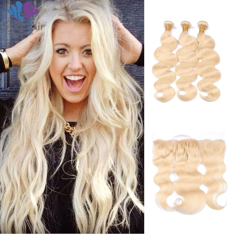 #613 Blonde Bundles With Frontal Brazilian Virgin Hair With Frontal Closure Bundle Blondde Body Wave Hair Bundels With Frontal