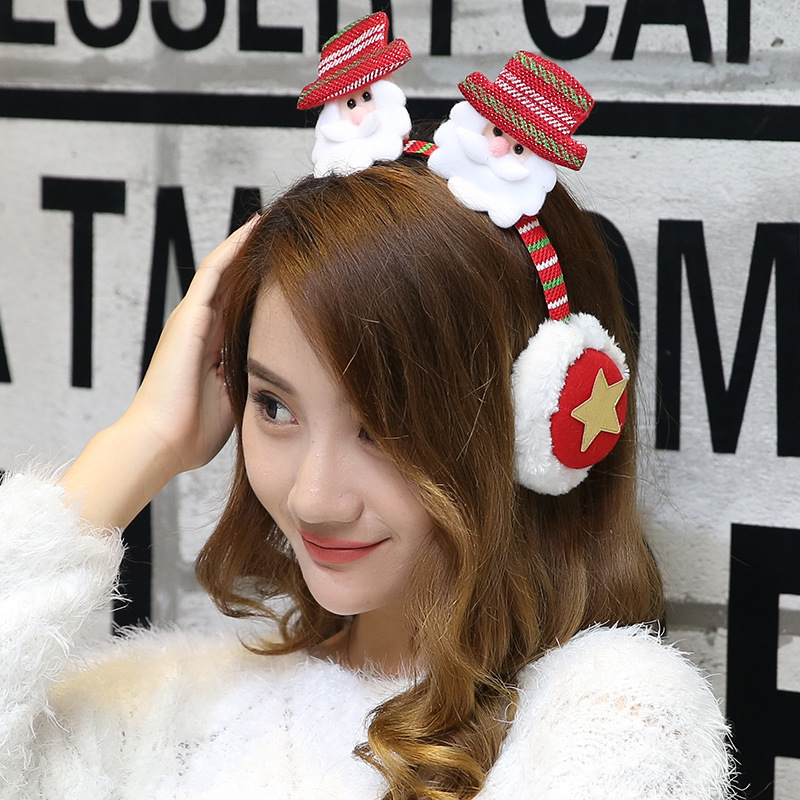 Winter Earmuffs For Kids Girls Boys Christmas Santa Claus Pattern Cartoon Party Xmas Hairstick Hairbands Baby Wear Party Toys