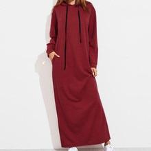Hooded Dress Women Long Sleeve Pockets 2018 Loose Female Spring Plus Size Maxi Long Dress Robe Jurken Feminina Xxxl Gv220 hooded long sleeve dress