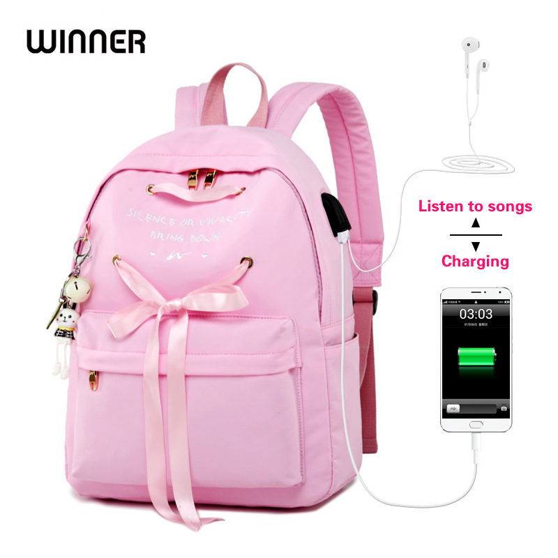eb937c2676 Detail Feedback Questions about WINNER Pink Ribbon School Bags For Teenage  Girls USB Charging Women Anti Theft Backpack Female Travel Bagpack Sac a  Dos 6 ...
