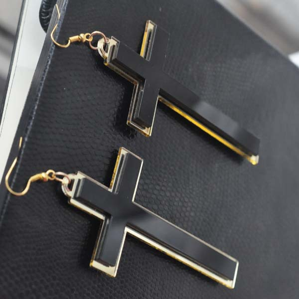 Punk Fashion Vintage Big Long Black Acrylic Cross Drop Earrings For - Fashion Jewelry - Photo 4