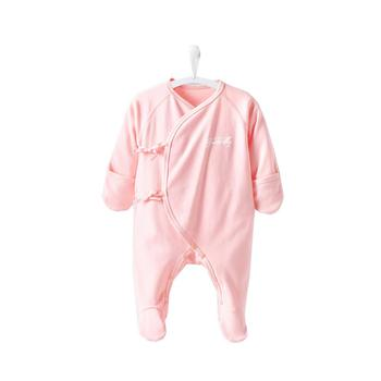 COBROO 100% Cotton Newborn Footie Pajamas with Mittens Side-Belt Solid Color Baby Footed Sleeper 0-3 Months