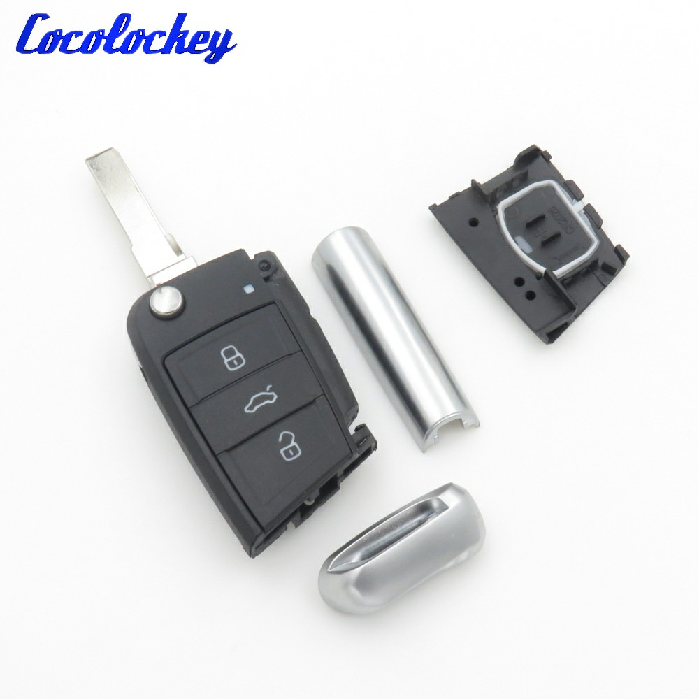 Cocolockey Flip Key Shell For VW Golf 7 GTI MK7 Skoda Octavia A7 Seat Remote Keyless Auto Metal Part Replacement For VW 3 button