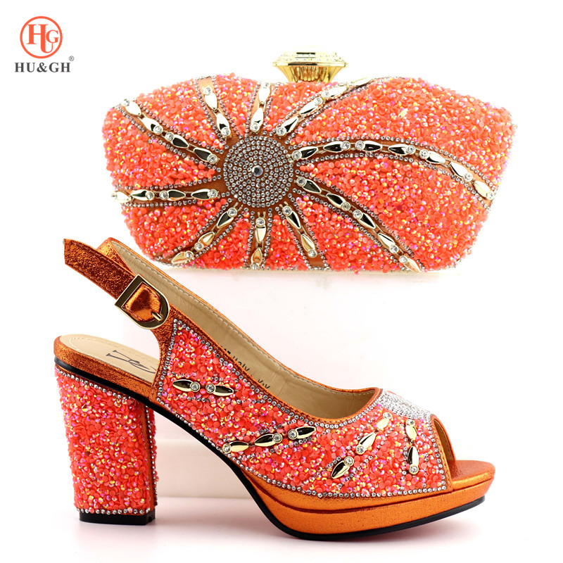 2019 Orange Color Italian Ladies Shoes and Bag Set Decorated with Rhinestone Shoes and Bag Set