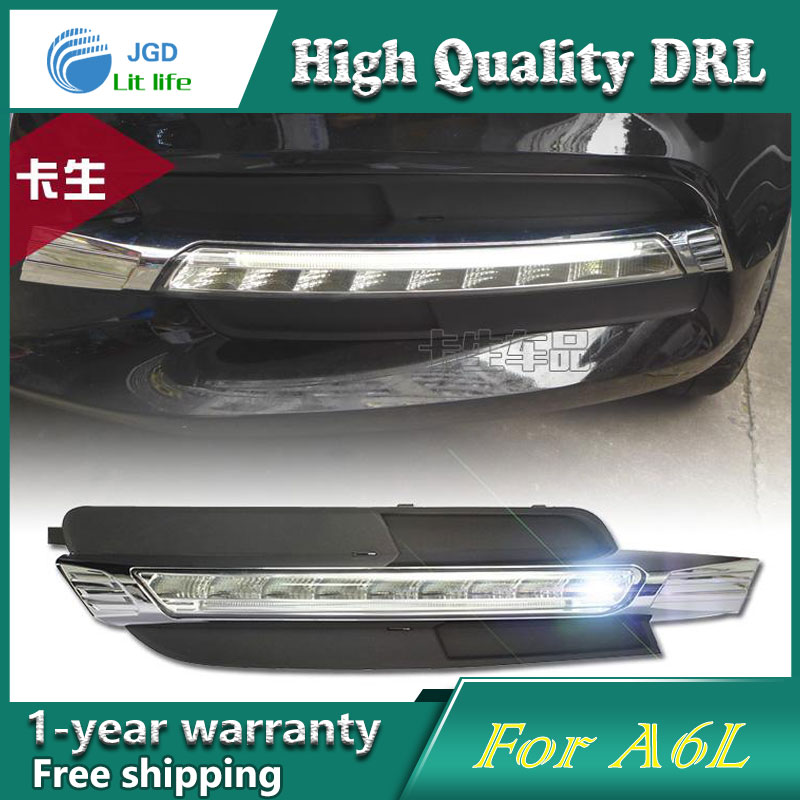 high quality daytime Running Light Fog light High Quality LED DRL case for Audi A6L 2013-2015 fog lamp 12V 6000K 2pcs/set купить недорого в Москве
