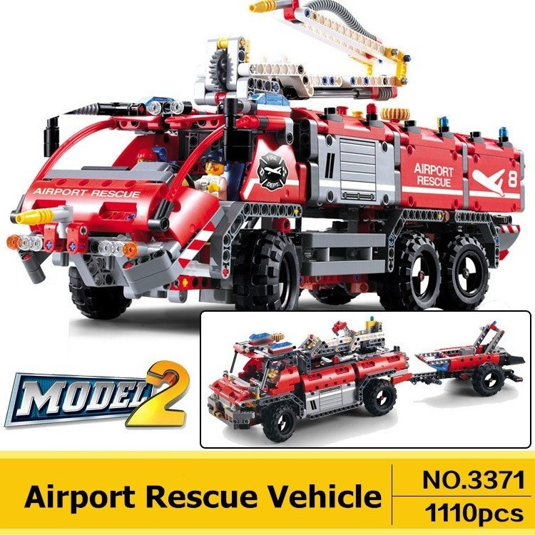 DECOOL 3371 City Technic Airport Rescue Vehicle Building Blocks Sets Kits Bricks Classic Model Kids Toys Compatible Legoe kazi 608pcs pirates armada flagship building blocks brinquedos caribbean warship sets the black pearl compatible with bricks
