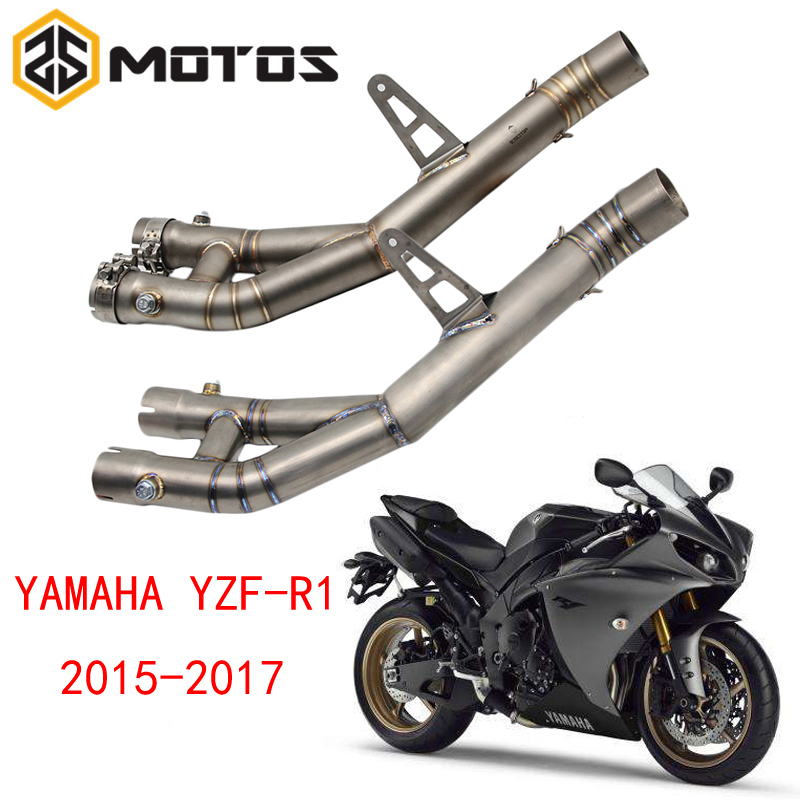 ZS MOTOS Motorcycle Exhaust Middle Pipe Round Muffler For YAMAHA YZF-R1 2015 Without ExhaustZS MOTOS Motorcycle Exhaust Middle Pipe Round Muffler For YAMAHA YZF-R1 2015 Without Exhaust
