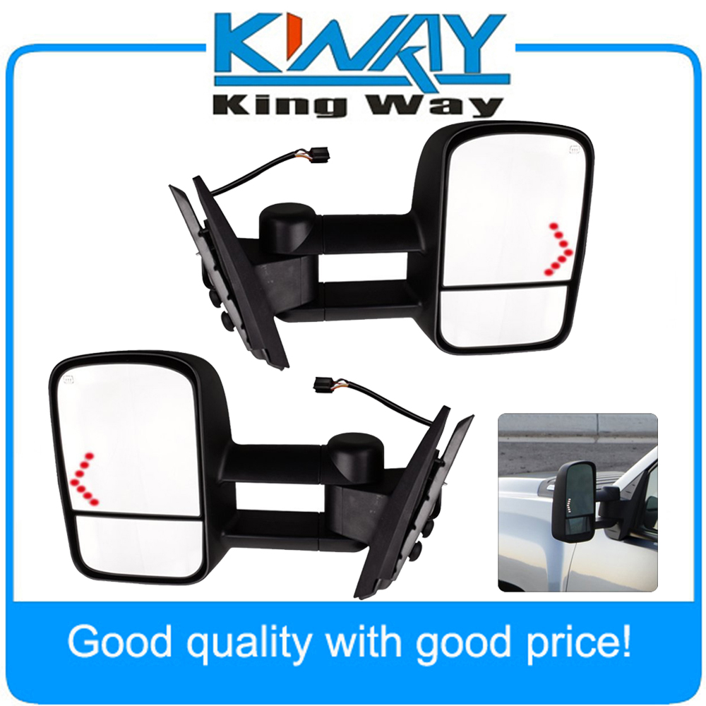 Pair Power LED Signal Towing Mirrors Fit for 2007 2013 Chevy Silverado 1500 2500 2500HD