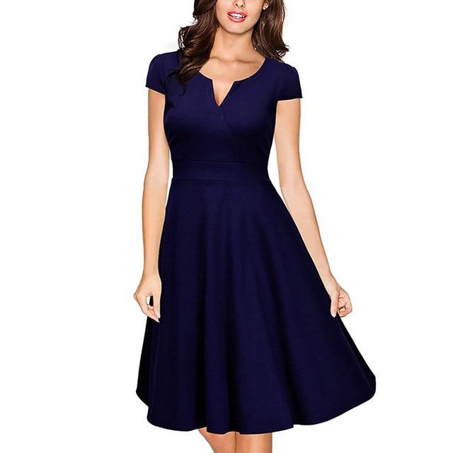 8a6f87c646a Women s Elegant Short Sleeve Pleated Skater Dress Vintage Retro Fashion  Tunic High Waist Bridesmaid Casual Party A Line dresses