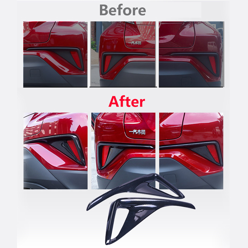 For Toyota C HR CHR 2016 2017 2018 Carbon fiber Front Rear Fog Light Cover Trims Back Tail Bumper FogLight Lamp Molding Garnish in Chromium Styling from Automobiles Motorcycles