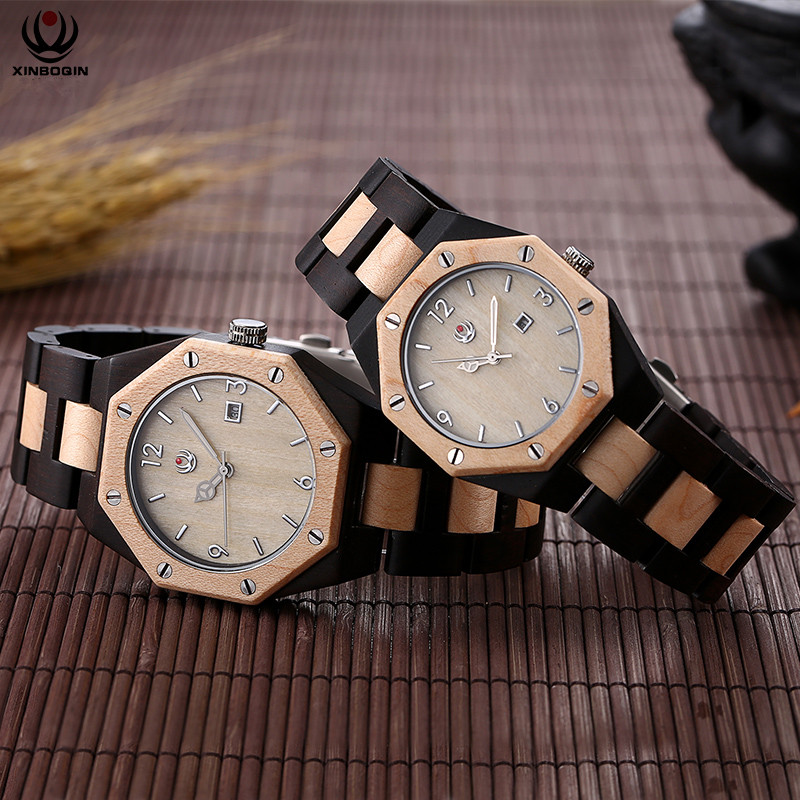 XINBOQIN Brand Couples Watches Mixed Colors Wooden Lovers Quartz Watches Personalized Irregular Calendar Wrist Watch Sandalwood