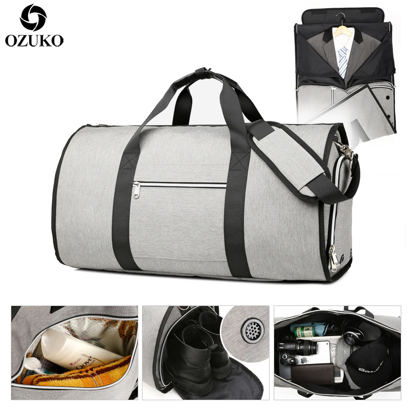 OZUKO Large Capacity Men Travel Bag Multifunction Suit Storage Hand Luggage Bags For Trip Waterproof Duffle Bag With Shoe Pocket(China)