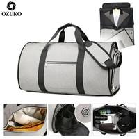 OZUKO Large Capacity Men Travel Bag Multifunction Suit Storage Hand Luggage Bags for Trip Waterproof Duffle Bag with Shoe Pocket