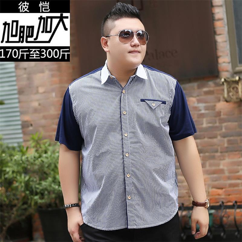 10XL 8XL 6XL 5XL Cotton Mens Dress Short Sleeve Shirts Fashion Casual Loose Fit Plaid Men Shirts Brand Clothing Chemise Homme