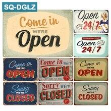 [SQ-DGLZ] Barra de señal de metal abierta y cerrada para decoración de pared Vintage Artesanía de metal decoración del hogar pintura de placas de arte Póster
