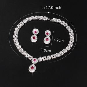 Image 5 - WEIMANJINGDIAN New Arrival luksusowy kwadratowe cyrkonie CZ kryształowy naszyjnik i kolczyki zestaw biżuterii ślubnej dla panny młodej lub druhny