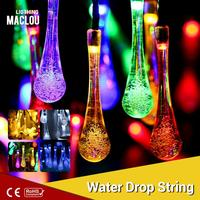 6M 30 Leds Solar Water Drop Rain Holiday Light White RGB Blue Fairy Christmas Lights Outdoor