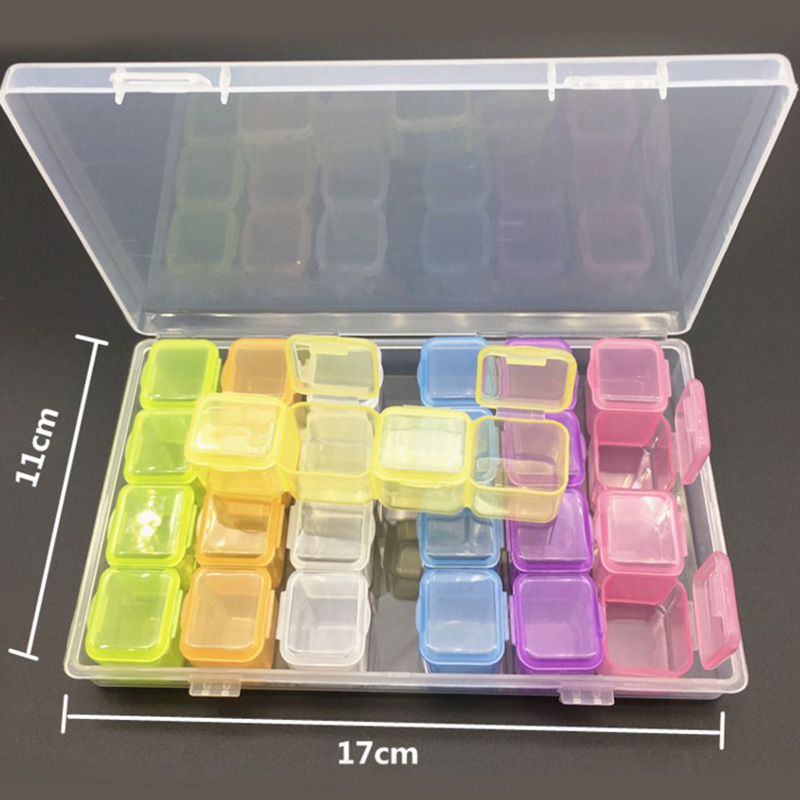 28 Grids Plastic Comestic Storage Box Diamond Jewelry Case Nail