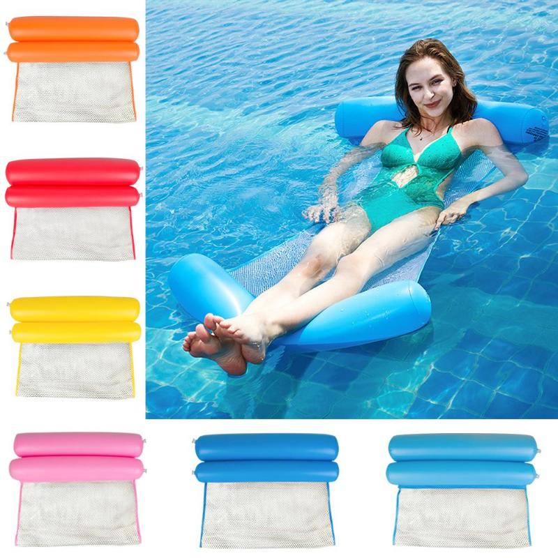 Summer Floating Water Hammock Air Mattress Float Lounger Floating Bed Chair Swimming Pool Inflatable Hammock Bed Chair