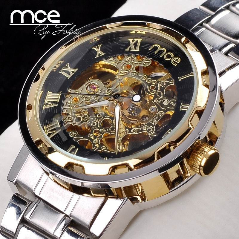 новинка золото скелет механические часы часы-автоматическая полный стали мужские часы наручные часы МРЗ 61