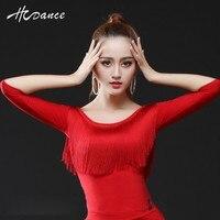2016 Sexy Latin Dance Costumes Women Girl Ladies Top O Neck Tassel Red Salsa Ballroom Dancing