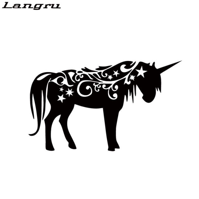 Langru Hot Sale Car Stying Unicorn Vinyl Decal Sticker Car Window Fantasy  Mythology Horse Car Decorative