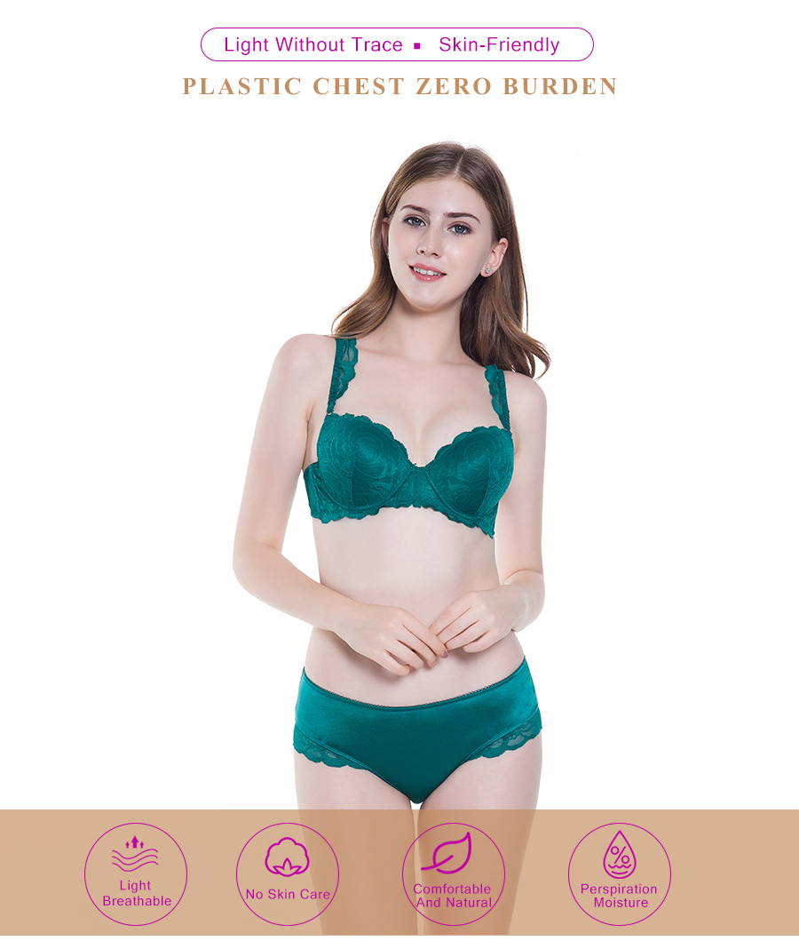 f050c8ae9a 2019 Kang Bowie 32 34 36 38B Cup Size Green Lace Bra Panty Set ...