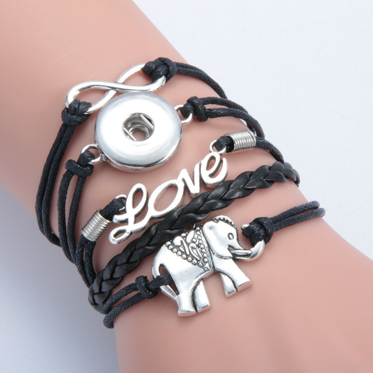 5pcs 10 style Leather weave bracelet snap button jewelry fit 18mm button snap bracelet jewelry