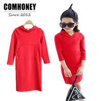 Baby Girls Red Dress Long Sleeve Cute Dresses With Hooded Fashion Kids Princess Party Dress Spring