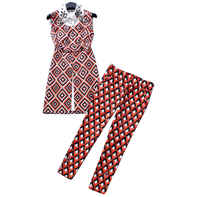 2019 Summer Brand Fashion Women 39 s Casual 2 Pieces Pants Set Sleeveless Long Blouse Slim Trousers Handmade Beading Silk Twin Sets in Women 39 s Sets from Women 39 s Clothing