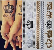 300 style gold flash tattoo the crown gold and silver Temporary Tattoos Sexy Tattoo & Body Art  stickers Metal  pattern