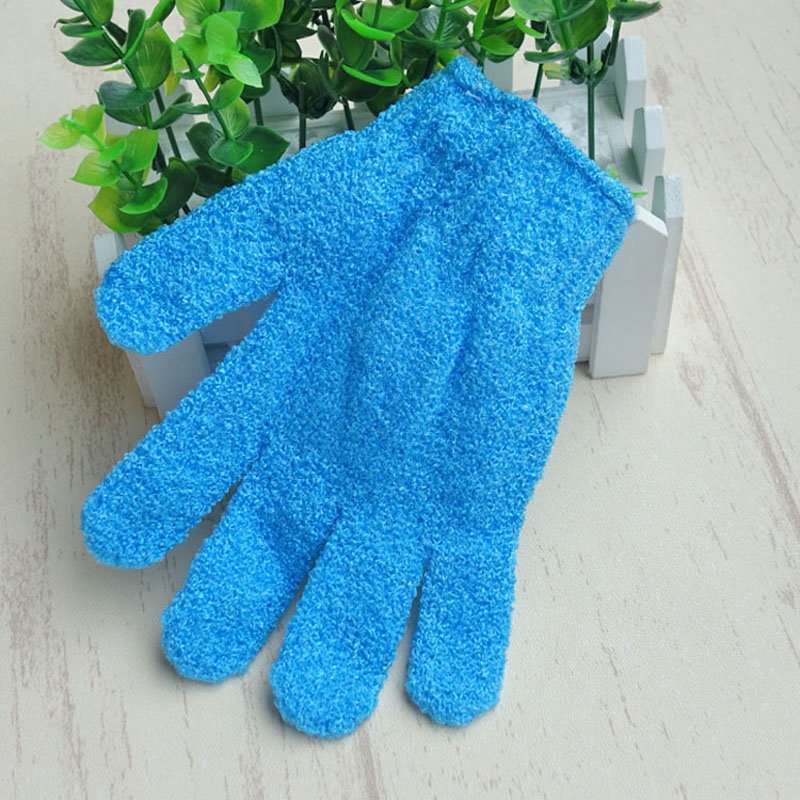 100pcs blue Nylon Body Cleaning Shower Gloves Exfoliating Bath Glove Five Fingers Bath Gloves