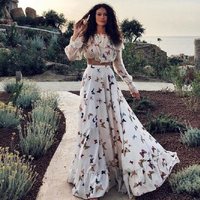 Butterfly Floor Length Women's Dress Slash Neck Sweet Bohemian maxi dress women dress Spring Autumn