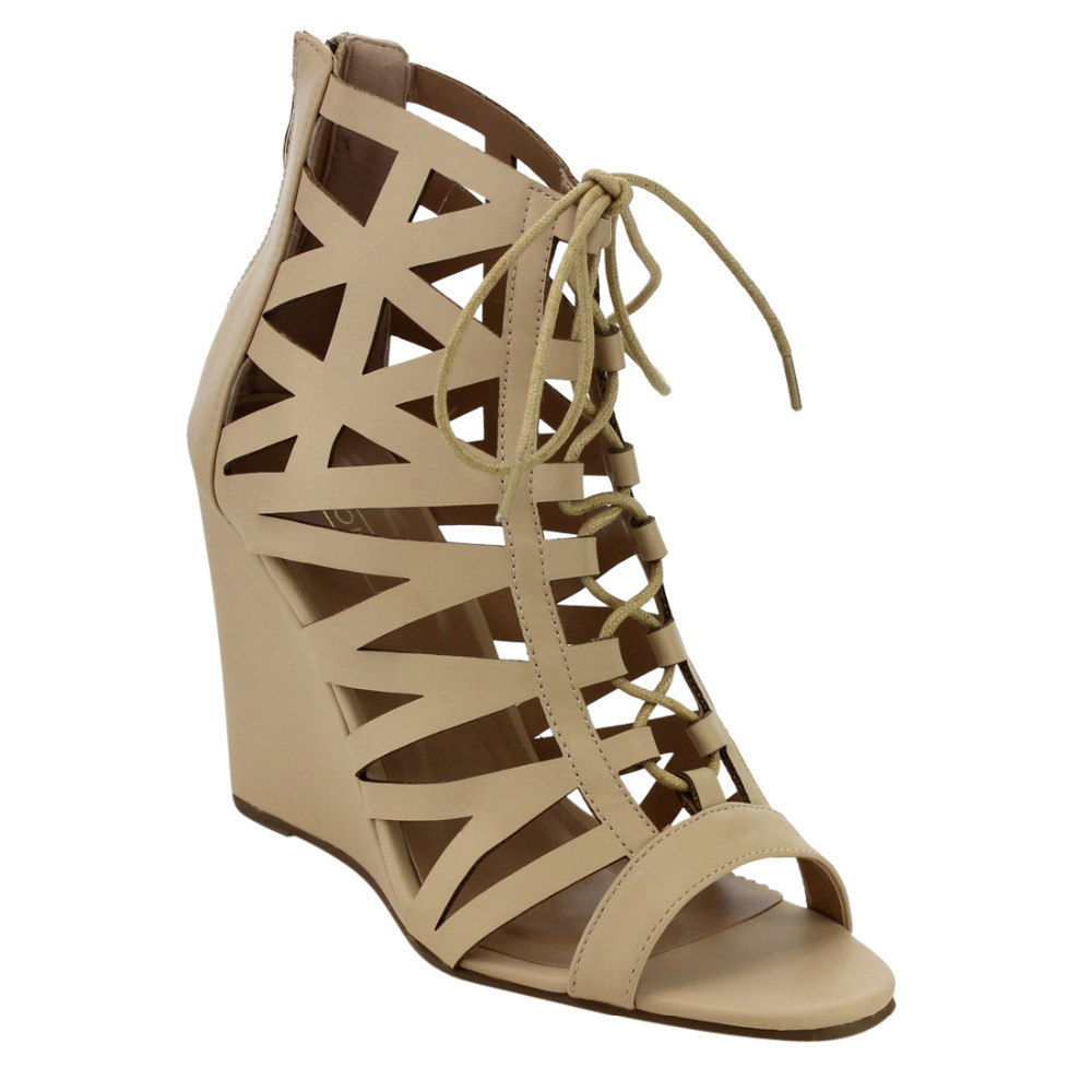 d777e2b6f59 EG03 Women s Shoes Caged Lace Up Back Zipper High Wedge Heel Dress Sandals-in  High Heels from Shoes on Aliexpress.com