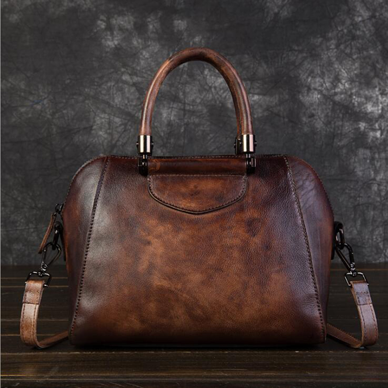 Genuine Leather Bags for Women Ladies Fashion Handbag Retro Large Capacity Shoulder Bag High Quality 100