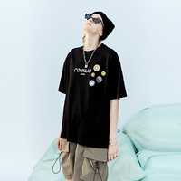 Smiley label brand couple oversize short sleeved T shirt male summer loose ins T shirt
