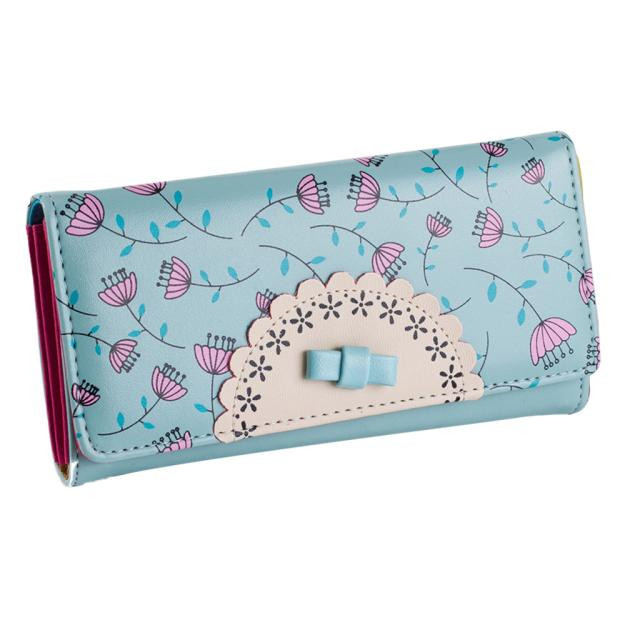Sweet College Wind Female Bowknot Wallet High Quality women PU leather Hasp Long wallets clutch purse Card holder Handbag college 1938 694