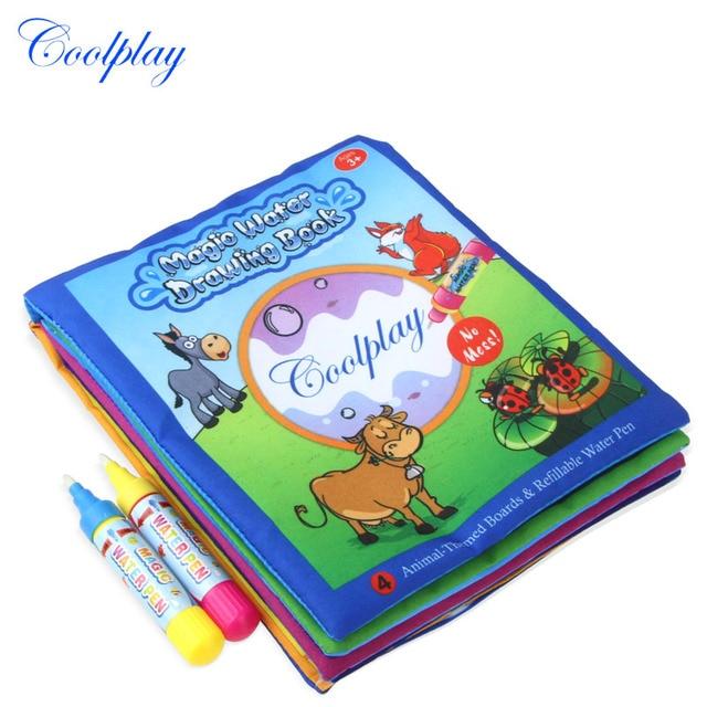 Animals Water Drawing Book 2 Magic Pen Coloring Board Doodle Mat For Kids Educational