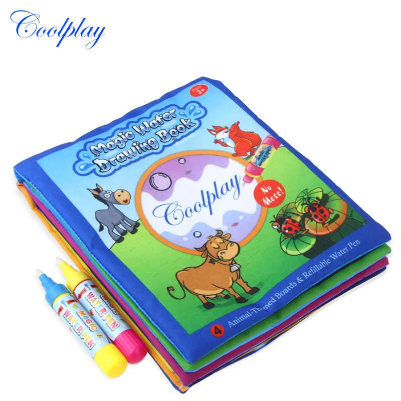 Coolplay 21*17 سنتيمتر الحيوانات دفتر رسم المياه و 2 قلم سحري تلوين المياه مجلس خربش حصيرة التعليمية لعب للتعلم للأطفال
