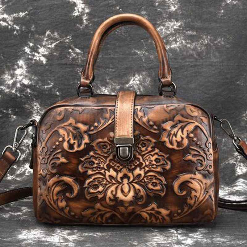 Women Genuine Leather Retro Shoulder Messenger Top Handle Bags Vintage Embossed Pattern Ladies Handbags Bag Female Leather Bags vintage women genuine leather handbags ladies retro elegant shoulder messenger bag cow leather handmade womans bags