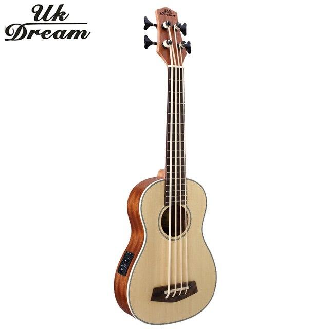 30 дюймов Деревянный Electrica Бас-Гитара 4 strings Гавайская Гитара Музыкальные Инструменты Профессионального Picea Asperata U Бас укулеле UB-513