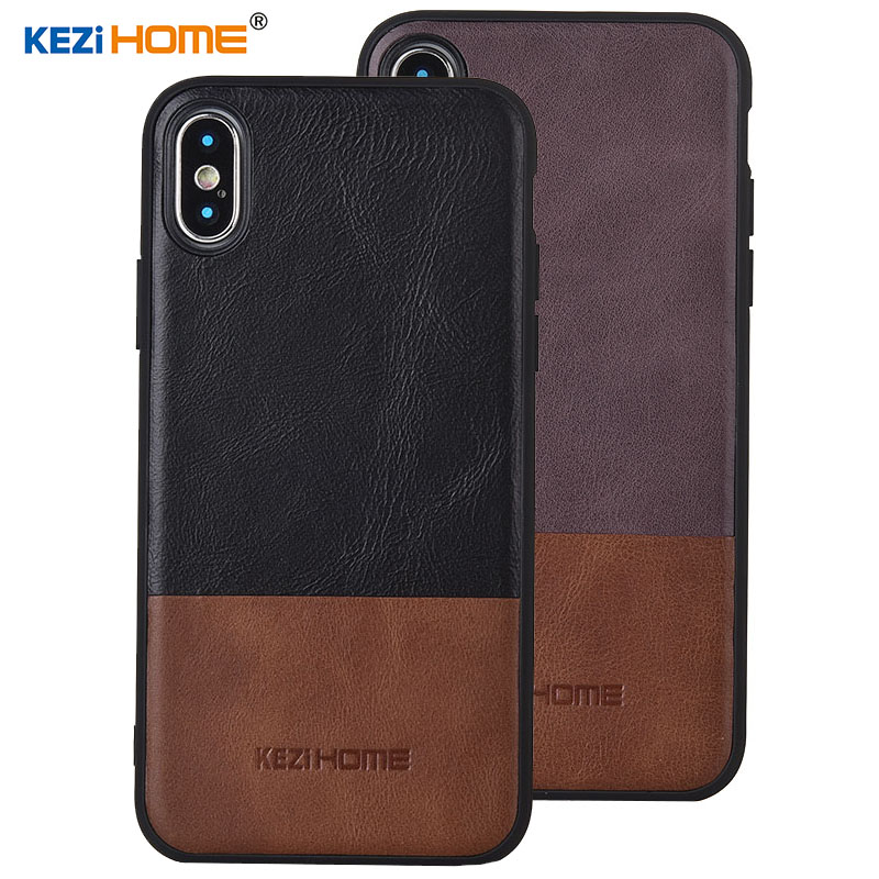 Case for iphone X KEZiHOME Luxury Hit Color Genuine Leather silicone edge back cover for iphone X 5.8 Phone cases