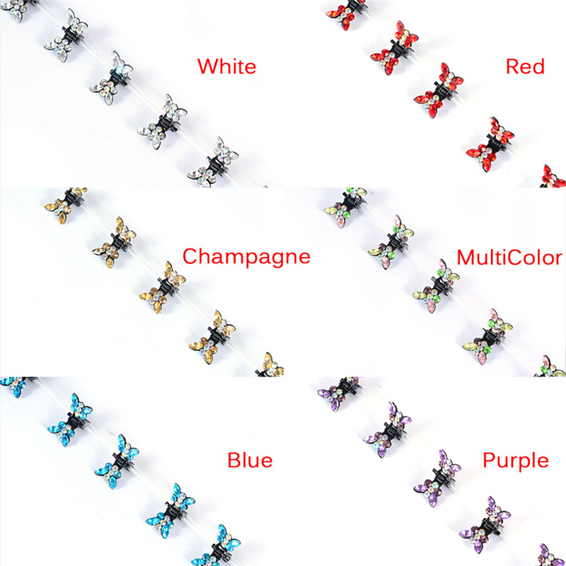 12 Pcs Shiny Butterfly Shape Hair Claws For Girl Hairpins Women Rhinestone Hair Accessories
