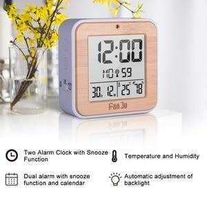 Image 2 - Fanju fj3533 디지털 알람 시계 led 온도 습도 듀얼 알람 자동 백라이트 스누즈 날짜 온도계 데스크탑 테이블 시계