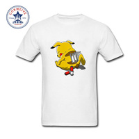 2017 Natural Cotton Cute Pikachu Pattern Pokemon Go Swag Funny Cotton T Shirt For Men
