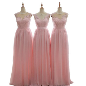 Lovely Pink V-Neck Sleeveless Floor Length A-Line Lace Applique Chiffon Bridesmaid Dresses Chiffon Court Train Bridesmaid Gowns фото