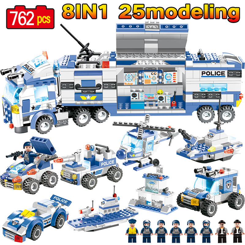 8 IN 1 SWAT City Police Blue&Black Truck Station Building Blocks LegoINGLY City Police Helicopter Figures Bricks Kids Toys Gifts new city police station fit legoings city police station swat figures building blocks bricks kids boys diy toys 60141 gift kid