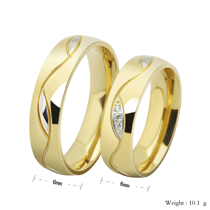 High Quality Rings For Women Men Cubic Zirconia Wedding Ring18k Gold Plated Stainless Steel Female Jewelry In From