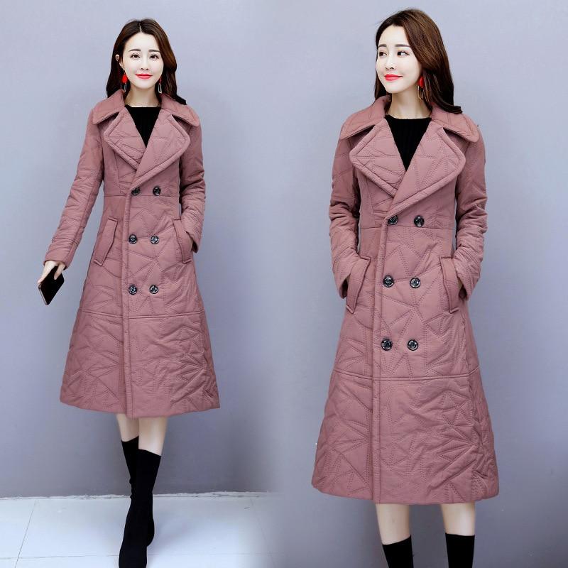 Mode Femmes Costume Chaud Veste Long Tempérament gray Dans pink Paragraphe 2018 Mince Black Épais Manteau Genou Col D'hiver Coton Nouveau Le blue gray Tq416 red De 5nxnUqTwv7