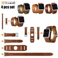 ICARER 4 ШТ. Набор Удлиненные Натуральный Кожаный Ремешок Для Apple смотреть Двухместный Тур Манжеты Браслет Ремешок Для Apple Watch Серии 2